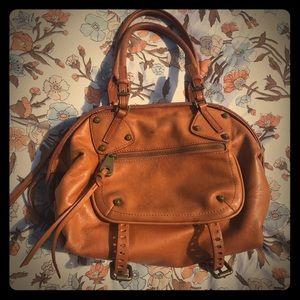 Joelle Hawkens Tan Soft Leather Duffel Purse Bag